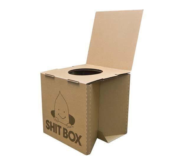 Внутрь такого картонного туалета устанавливается полиэтиленовый мешок, который после наполнения утилизируется.