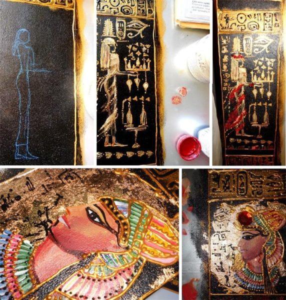 Вот такие фараоны и жрицы появились на моем зеркале