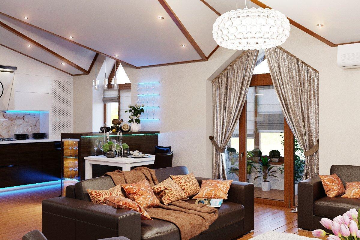 Дизайн гостиной с балконом: оформление окна совмещенных поме.
