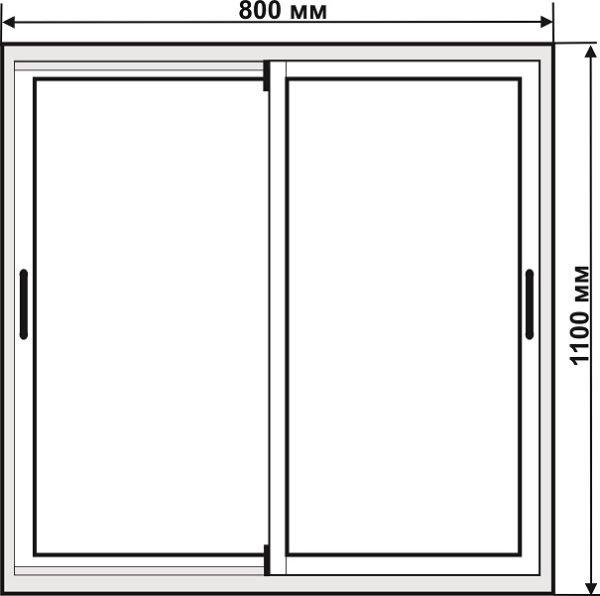 Чертёж алюминиевой тумбочки с раздвижными дверками