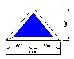Чертёж модели, обладающей размерами 600 на 1000 мм