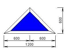 Чертёж модели, обладающей размерами 600 на 1200 мм
