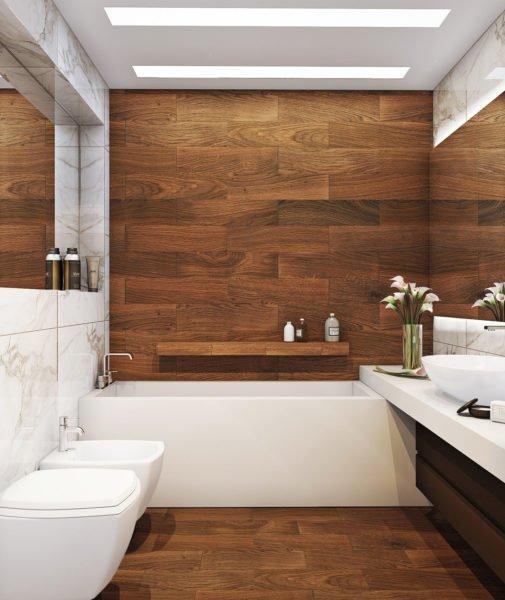 Деревянная ванная комната – верх роскоши.