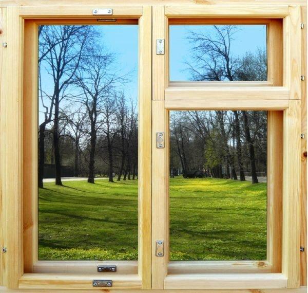 Деревянное окно сложно представить баз маленькой верхней створки для проветривания