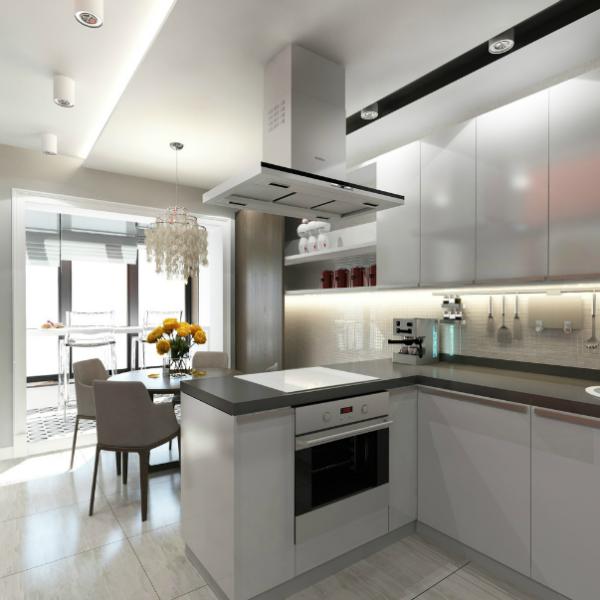 Дизайн кухни с панорамным окном во всю высоту стены.
