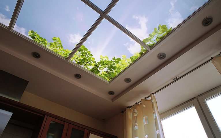 На потолке окно