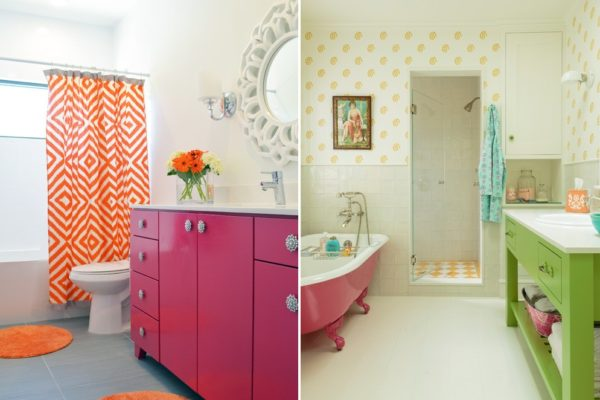 Если вы решили объединять сложно сочетаемые тона, оставьте место нейтральным цветам: белому, серому, коричневому. Это может быть пол, отделка стен или мебель.