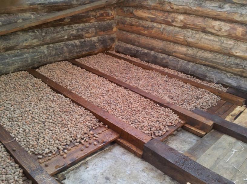 Фото подпольного пространства с засыпанным керамзитом