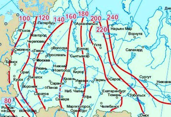 Карта промерзания грунта.