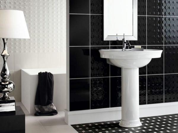Контрастная затирка в ванной в стиле арт-деко