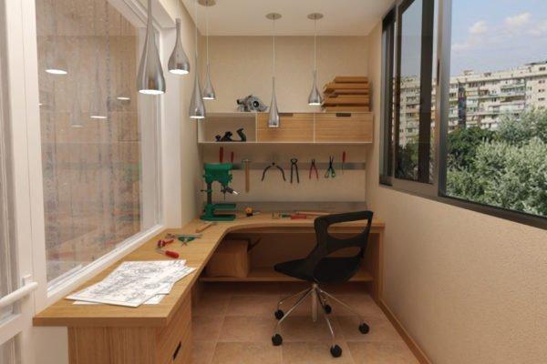 Концепция домашней мастерской на балконе.
