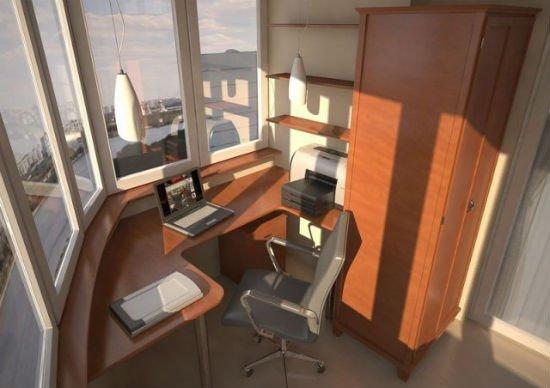 Мебель и рабочий стол на лоджии П44Т.