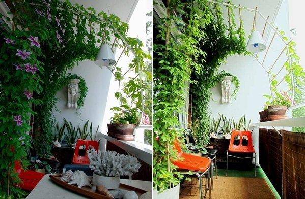 На озелененном балконе можно создать уютное местечко для отдыха