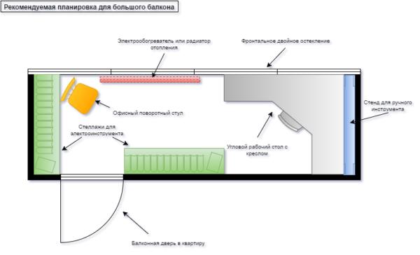 На схеме показана планировка балкона с угловым столом.