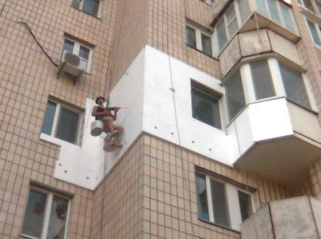 Наружное утепление стен квартиры пенопластом.