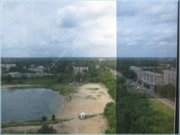 Некачественная зеркальная пленка плохо отдирается и имеет неравномерное затемнение