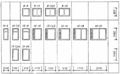 Несколько разновидностей оконных блоков, упомянутых в ГОСТ 24699-81.