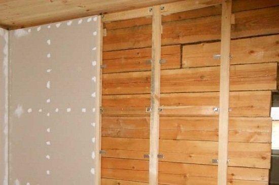 Стены из гипсокартона в деревянном доме своими