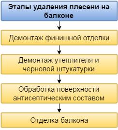 Основные этапы удаления плесени на балконе