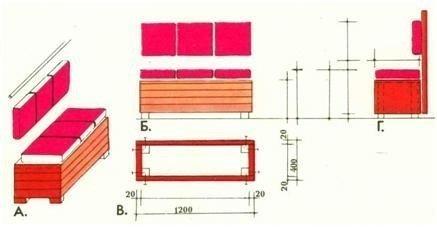 Пример несложного варианта скамьи со спинкой