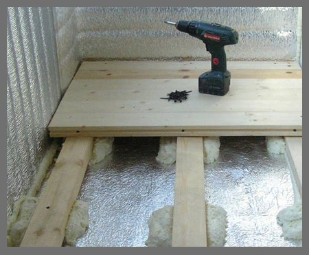 Пример обустройства пола балкона на лагах с утеплением