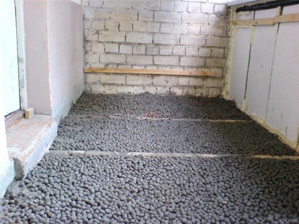Пример теплоизоляции пола керамзитом
