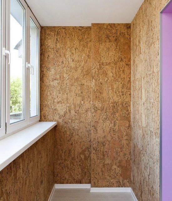 Пробковые панели для стен: отделка на балконе пробковым покр.