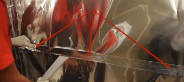 Проклейка стыка алюминиевой лентой.