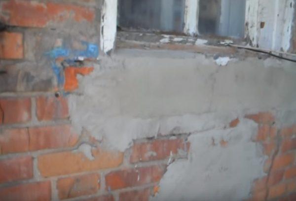 Ремонт повреждений с помощью цементного раствора.