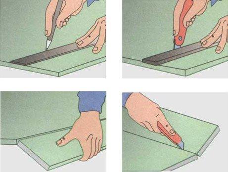 Резка гипсокартона с помощью канцелярского ножа.