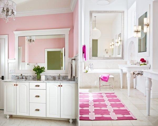 Розовая мебель для ванной комнаты подчеркивается нейтральными стенами белого цвета, оттенка слоновой кости или топленого молока