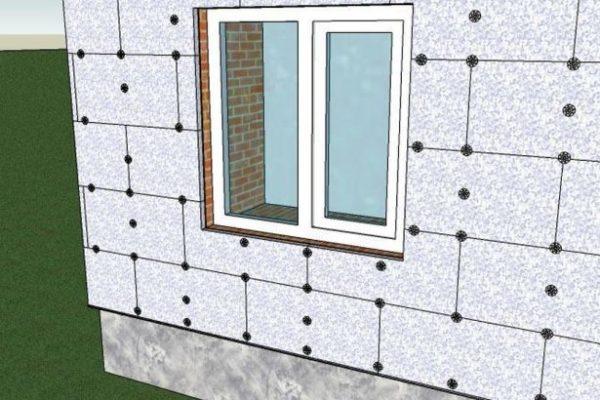 Схема расположения дюбелей на стене