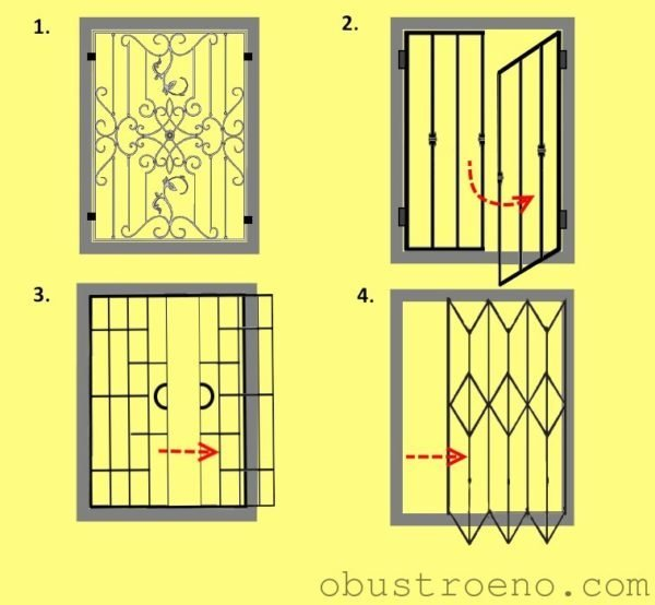 Схема с разными типами открытия оконных решёток