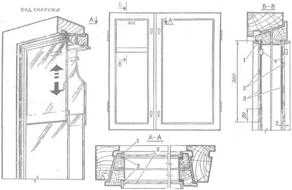 Схема сдвижной форточки. Лучше использовать триплекс или упрочненное стекло