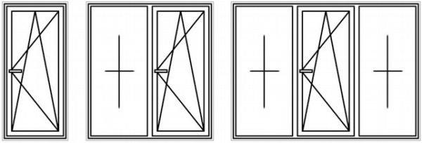 Схематическое изображение одностворчатого, двухстворчатого и трехстворчатого окна.