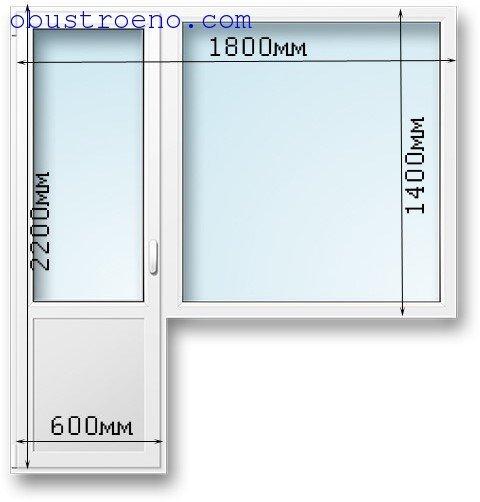 Стандартные размеры пластиковой балконной двери с окном (возможны допуски)