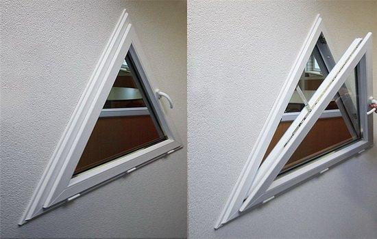 Треугольные пластиковые окна открывающиеся по горизонтальной оси