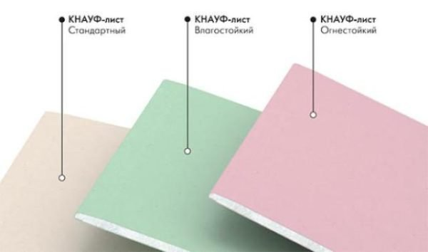Цветовая маркировка позволяет легко различить разные виды гипсокартона.