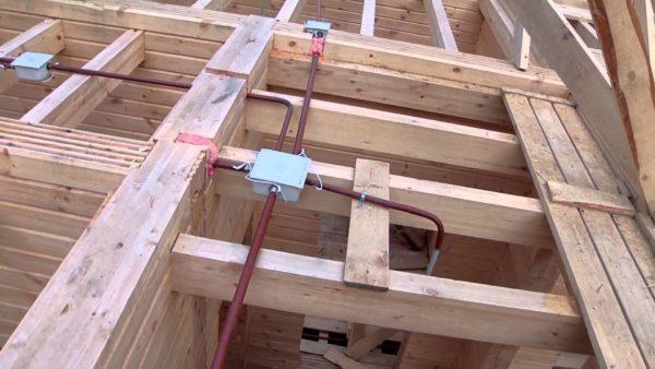 Установка электрических кабелей в деревянном потолочном перекрытии.