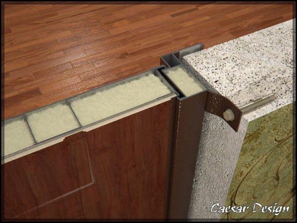 Утепленная коробка и дверное полотно в разрезе.