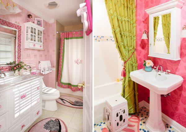 Власть в ванной комнате может быть отдана как розовому, так и зеленому