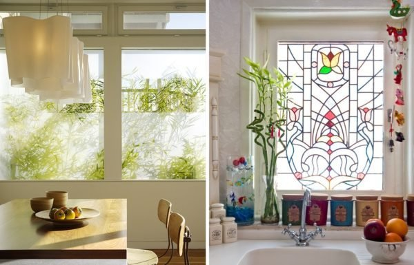 dekorirovanie-matovoy-plenkoy-i-vitrazhom-600x385 Декорирование окон – как украсить окно своими руками
