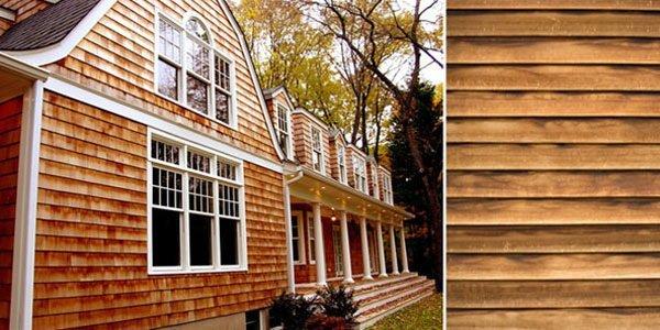 Фасад дома из деревянного сайдинга.