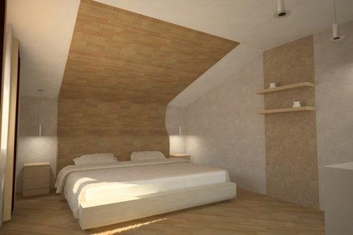 Фрагментарная отделка стены и потолка над кроватью.