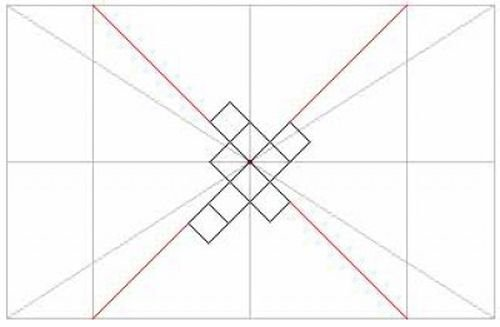 Пример разметки потолка для приклеивания плитки по диагонали