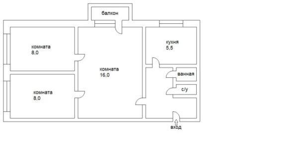 В двух и трехкомнатных квартирах большие по площади комнаты были проходными.