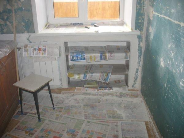 Во избежание повреждений фасады шкафчика будут навешиваться после окончания ремонта помещения.