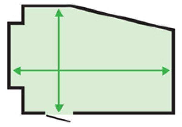 Асимметричные помещения измеряются по самым широким участкам с каждой стороны