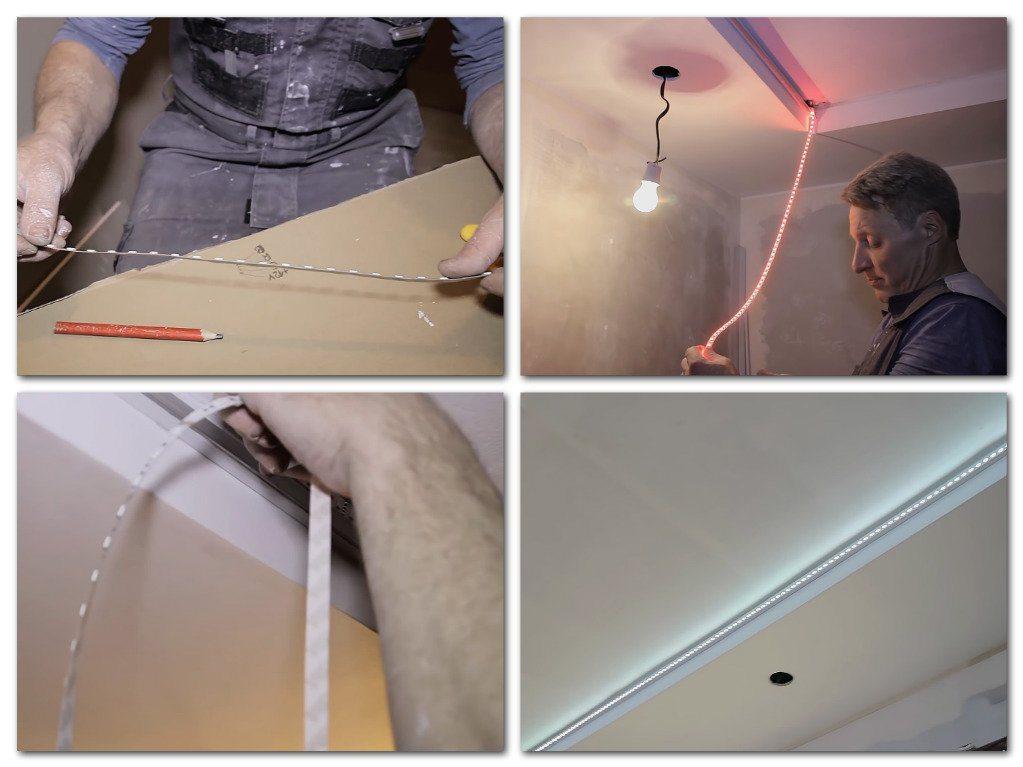 Светодиодная лента на потолке своими руками