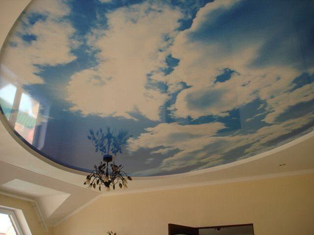Потолок в виде неба с облаками из гипсокартона